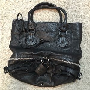 Chloe Paddington black leather Pad Lock Tote